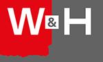 Das Logo der Firma W&H Fenster, Türen und Sonnenschutz
